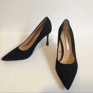 Zara Pointed Toe Suede Black Pumps